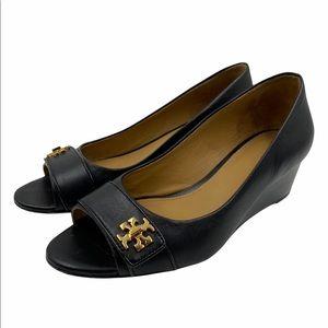 Tory Burch Kira peep toe leather wedge